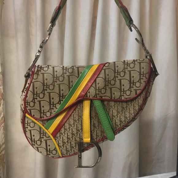 Dior Bags   Christian Rasta Monogram Saddle Shoulder Bag   Poshmark 8c68a4b169b